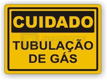 Placa: Cuidado - Tubulação de Gás