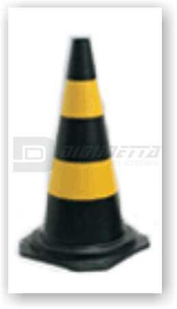 Cone de Segurança em PVC Preto Com Faixas Amarelas 75 Cm