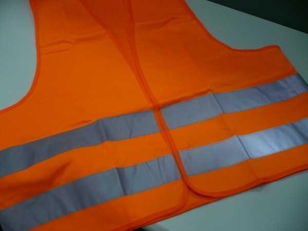 Colete Alta Visibilidade Fluorescente com Faixas Refletivas Laranja