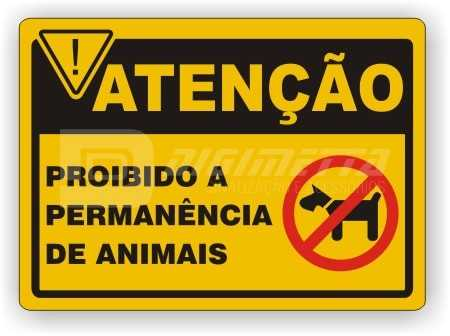 Placa: Proibido a Permanência de Animais