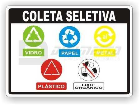 Placa: Coleta Seletiva - Vidro, Papel, Metal e Plástico